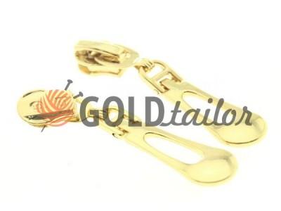 Бігунок слайдер Крапля для спіральної блискавки тип 5 колір золото