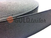 Elastic band textile black 20 mm - 50 mm standard