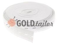 Резинка текстильна біла перфорована 20 мм плотна, 30 м