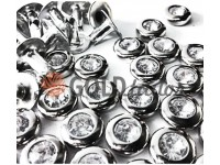 Holniten with stone unilateral 7 mm; 9 mm nickel, 100 pcs